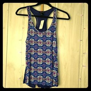 Blue Designed Tank Top with Mesh Back   NWT